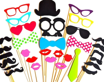 SALE - Fabulous Photo Booth Props - 32 piece prop set - Birthdays, Weddings, Parties - Photobooth Props