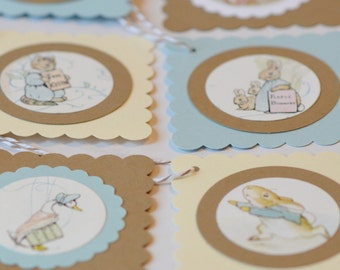 Easter Gift Tags, Kraft Paper Easter Tags, Beatrix Potter Upcycled Tags for Easter Baskets