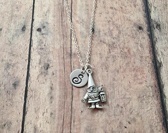 Garden gnome initial necklace - gnome jewelry, gardener jewelry, elf jewelry, silver gnome pendant, garden gnome necklace, gardner gift
