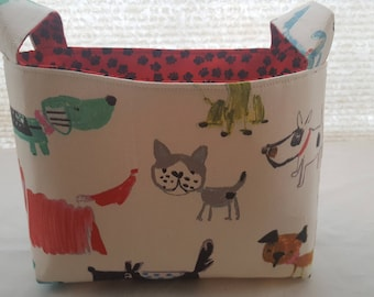 Storage Organizer Basket Bin Container Fabric - Dogs Bow Wow Paws