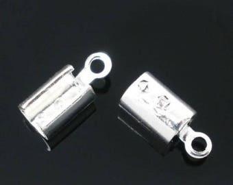 Lot 100 crimp caps silver 10x4mm