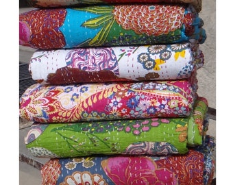 5 pcs Lot Of Handmade Kantha Quilts Twin Size Indian Kantha Quilts Bedspread Blanket Throws Gudri