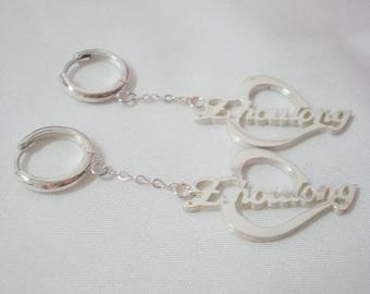 Custom Name Earrings, Personalized Name Earrings, Silver Name Earring, Nameplate Earrings, Stamped Earrings, Name Jewelry