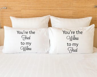Fred and Wilma Flintstone pillowcase set