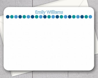 Blue Polka Dot Note Cards - 12pk, Custom Flat Note Cards, Printed with Envelopes (NC-017)