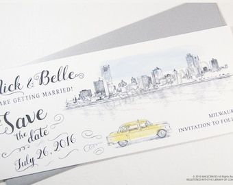 Milwaukee Skyline Whimsical Save the Date Cards , Taxi Watercolor, Wedding (set of 25 cards)