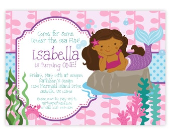 Mermaid Invitation - Pink Seaweed Bubbles, Blue Polka Dots, Ocean Girl Mermaid Personalized Birthday Party Invite - a Digital Printable File