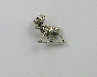 Sterling Silver 3-D Caribou Charm