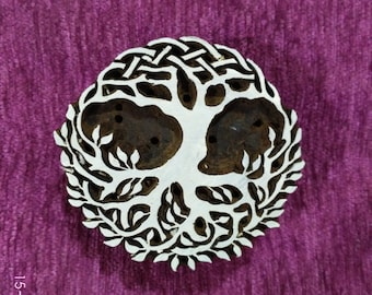 indian wood stamp, pottery stamps, textile stamps, hand carved printing block, tjaps, batik stamps - tree of life