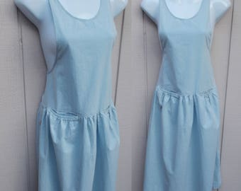 Vintage 90s Blue Cotton Jumper Country Picnic Dress / Deep Armhole overalls Dress // Size Med
