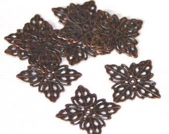 50 pcs of antiqued copper plated brass filigree square - 12.5mm
