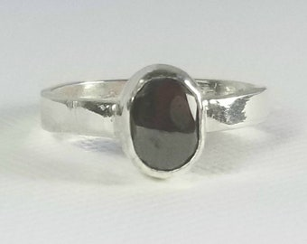 Hematite Ring Sterling Silver Band Black Stone Ring Primitive Style Handmade Silver Jewelry Men's Pinky Ring For Him Mother's Day Gift