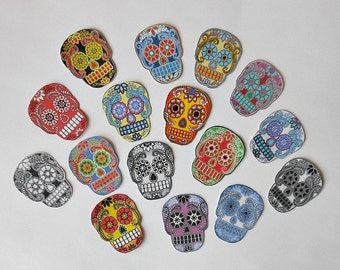 Various sizes Sugar Skull Paper STICKERS- 16 RTU with Adhesive back- Sugar Skull art Dia de los Muertos skull Jewelry Day of Dead art Prints