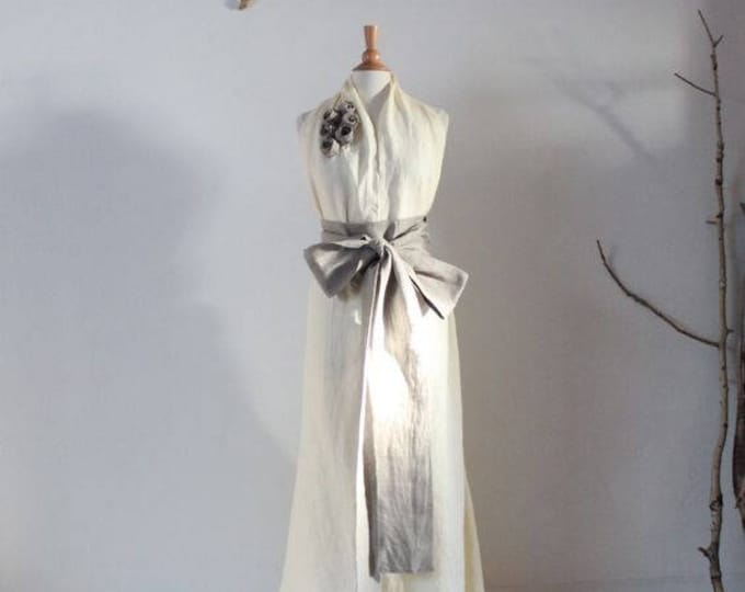 custom linen chic halter floor length dress with obi and roses / custom wedding dresses / linen party dress / alternative wedding dress /