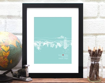 Personalized Wedding Gift, Portland Oregon City Art Print, Engagement Gift, First Anniversary Gift, Bridal Shower Guest Book Poster 8x10 Art
