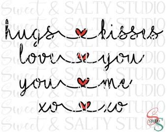 hugs kisses love you me xo digital file