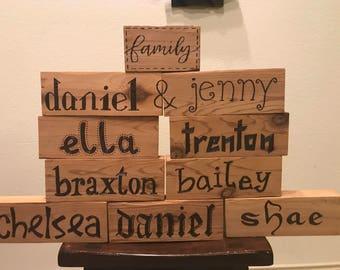 Custom Name Blocks Wood Burnt in Any Font