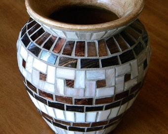 White and Copper Classic Mosaic Vase, Father's Day Gift, Bridal Shower Gift, Wedding Gift, Gift for Grandmother, Hostess Gift