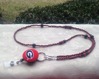 Georgia Bulldogs ID Badge Lanyard Bead Red and Black ID Badge Holder