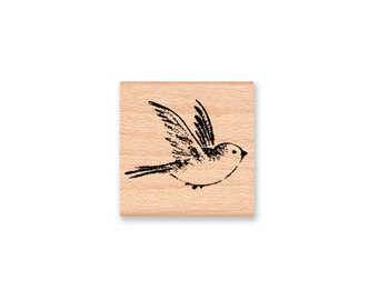 BIRD RUBBER STAMP~Bluebird~Sparrow~Robin~Small Bird Stamp~Wood Mounted Rubber Stamp~Mountainside Crafts (25-10)