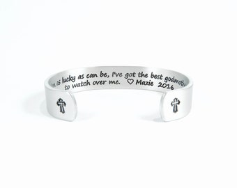 "Godmother Gift / Birthday Gift ~ I'm as lucky as can be, I've got the best godmother to watch over me. ~ 1/2"" hidden message cuff"