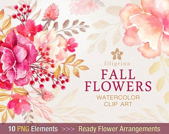 Fall Flowers WATERCOLOR Clip Art. Wedding bouquet, gold leaves, floral garland, peony wreath, Thanksgiving decor. 10 elements Commercial use