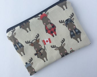 Snack Bag - Kids Zippered Snack Bag - Moose - Maple Syrup - Plaid - Canada - Lunch Pouch - Snack Bag - Lunch Bag - Snack Sack