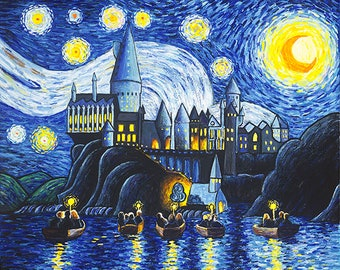 Hand Painted Harry Potter Starry Night At Hogwarts By JPK Artwork