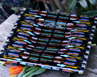 Fused Glass Platter in Thick Bar Pattern