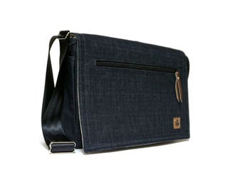Ultimate Stash laptop messenger bag - dark denim