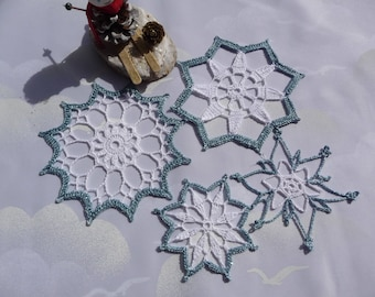 Doilies crochet for Christmas handmade cotton white and Blue Metallic.