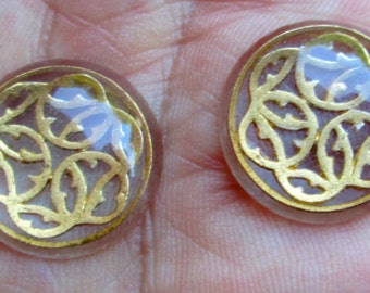 2 Vintage Cabochons with Gold Geometric Design