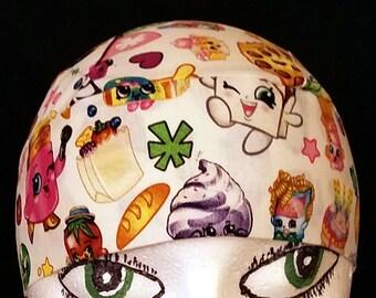 Shopkins Skull Cap or Chemo Cap,  Hat, Surgical Cap, Alopecia, Hair Loss, Bald, Head Wrap, Helmet Liner, Women, Do Rag, Children, Head Cover