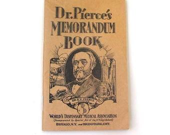 Vintage Collectible  1930-1931  Dr. Pierce's Memorandum Book Buffalo NY  Medical Dispensary Laboratory