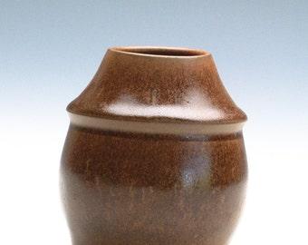 Golden Brown Semi Matte Small Vase / Pottery Vase
