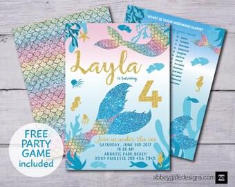 Mermaid Invitation, Mermaid Invite, Mermaid Birthday, Under the Sea, Mermaid Party Invite, Mermaid Invitations, Mermaid Tail Invitation, PDF