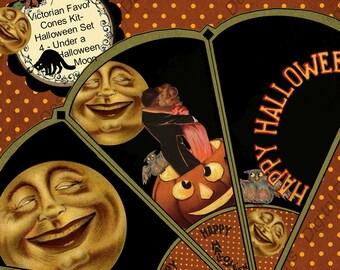 DIY Digital Printable Instant Download Halloween Party Favor Decorations Victorian Favor Cones Set 4 Under a Halloween Moon