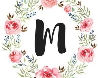 Floral Initial Wall Print | Black | Gold Foil | Rose Gold Foil | Customize | Home Décor | Nursery Décor