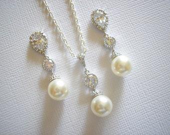 Bridal Elegant Silver Swarovski Pearl Cubic zirconia Earrings Necklace Set White Ivory Blush Pink Grey Pearl Vintage Classic Wedding