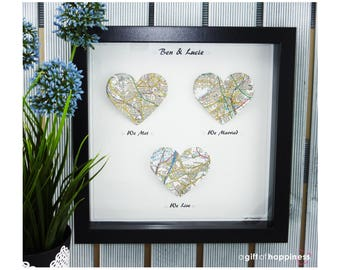 We met We married We Live. Heart Map Print. Wedding Gift. Anniversary Gift. Engagement gift. Paper Anniversary gift. Couple. Valentines Gift