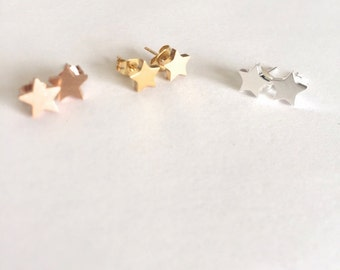 Tiny star studs, Silver or Gold plated
