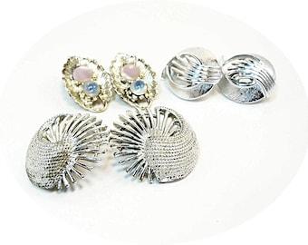 Vintage Clip On Earrings, 3 Pairs Vintage Earrings, Silver Earrings, Retro Clip On Earrings, Retro Earrings, Vintage Earrings