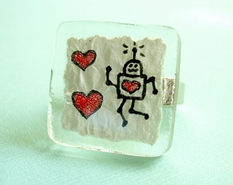 Robots Love to Dance Fused Glass Ring