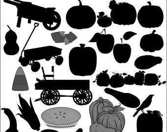 Pumpkins, Squash, Wagon, Corn, Fall Silhouettes, Pumpkin Silhouettes, Silhoutte Clip Art, Prim Silhouettes, Prim Clip Art, Prim Silhouettes