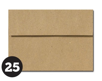 ON SALE! Brown Paper Bag Kraft Envelopes in A1 4Bar and A7 sizes Invitations, Photos, RSVP and Cards, Grocery Bag, Pack of 25