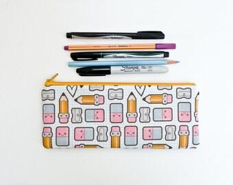 Kawaii School Supply Pencil Case - Cute Cartoon Zipper Pouch - Back to School Supply - Pencil Bag - Pencils Erasers Rulers Grid Paper Hearts