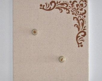 Flourish Flora Design Bulletin Board with Hand Painted Push Pins in Cinnamon