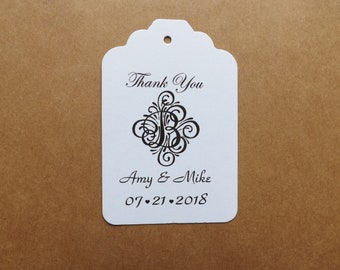 Wedding Scroll Initial favor tags-wedding tags-wedding favor tags-Thank You tags-bridal tags-personalized tags-sets of 40