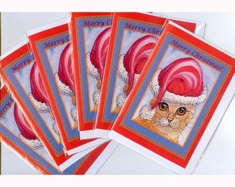 6 x Ginger tabby cat Christmas cards - Her Holiday Hat