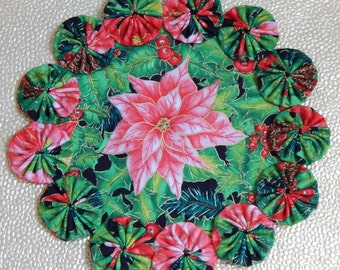 Pink Poinsettia Winter Doily or Candle Mat